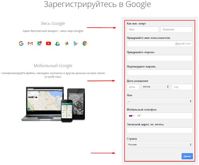 Регистрация goggle почты