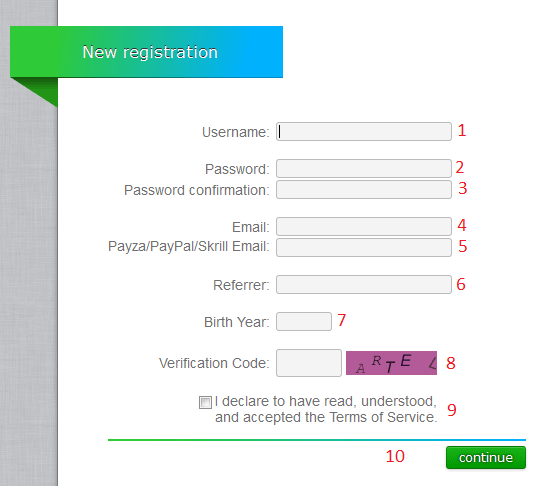 Форма регистрации на сайте Neobux
