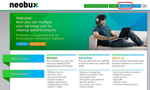 Вход на сайт Neobux